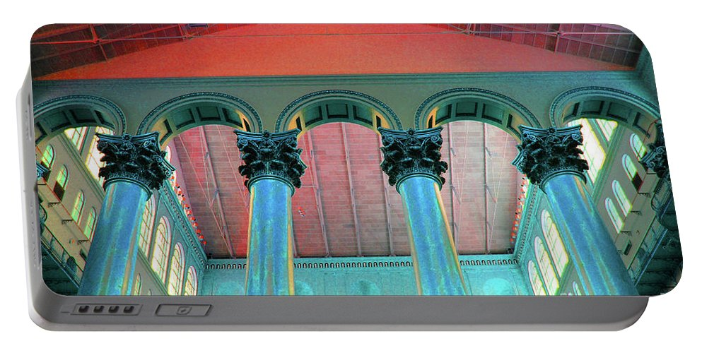 National Portable Battery Charger featuring the photograph National Columns Blue by Jost Houk