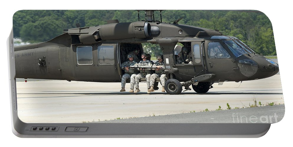 Horizontal Portable Battery Charger featuring the photograph National Guard Special Forces Soldiers by Stocktrek Images