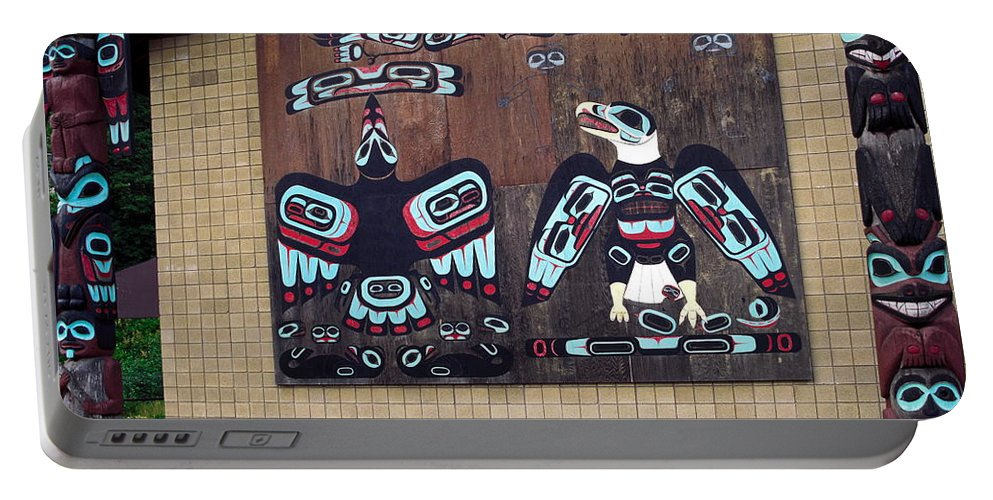 Native Alaskan Mural Portable Battery Charger featuring the photograph Native Alaskan Mural by Sally Weigand