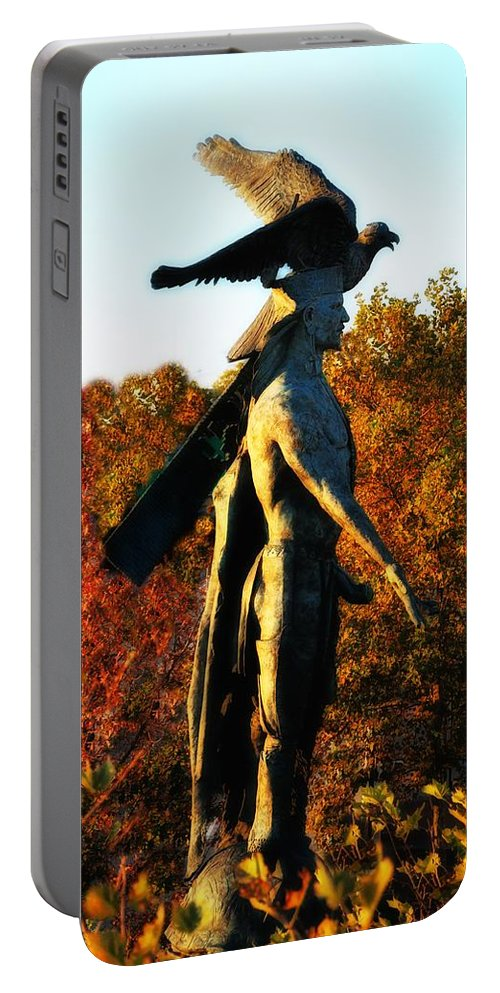Native Portable Battery Charger featuring the photograph Native American And Eagle by Bill Cannon