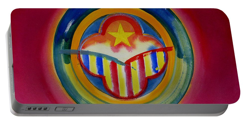 Button Portable Battery Charger featuring the painting Native American by Charles Stuart