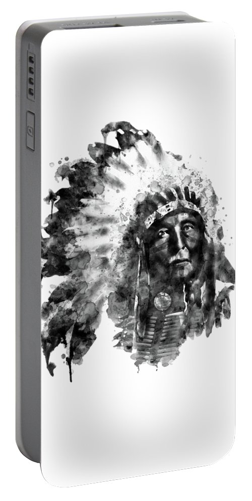 American Indian Portable Battery Charger featuring the painting Native American Chief Black And White by Marian Voicu