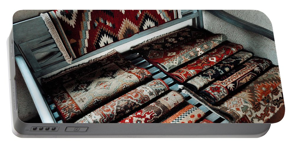 Tlaquepaque Arts And Crafts Village Portable Battery Charger featuring the photograph Native American Rugs by Kyle Hanson