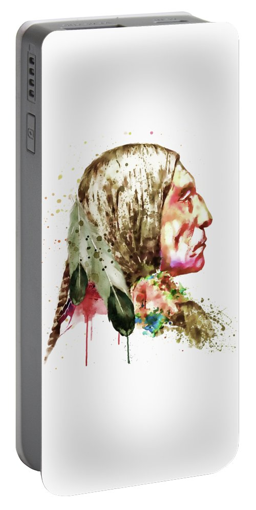 Native American Portable Battery Charger featuring the painting Native American Side Face by Marian Voicu
