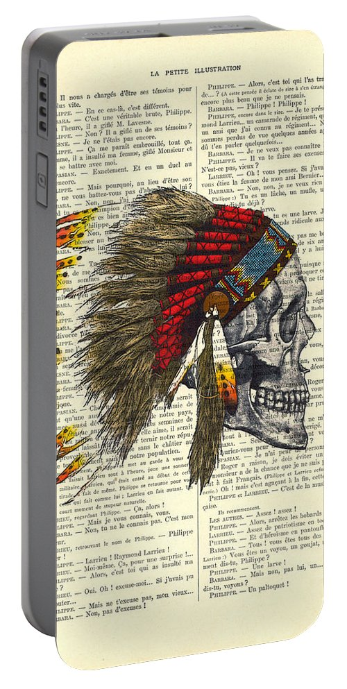 Native American Portable Battery Charger featuring the digital art Native American Skull by Madame Memento