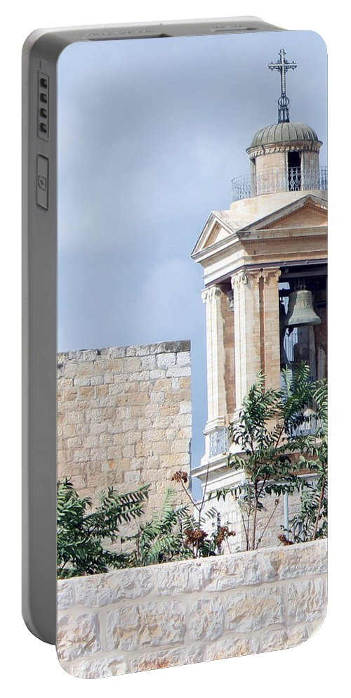 Bethlehem Portable Battery Charger featuring the photograph Nativity Church Bells by Munir Alawi
