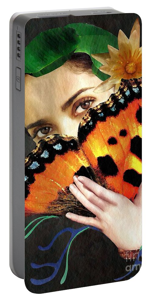 Woman Portable Battery Charger featuring the mixed media Natural Beauty by Sarah Loft