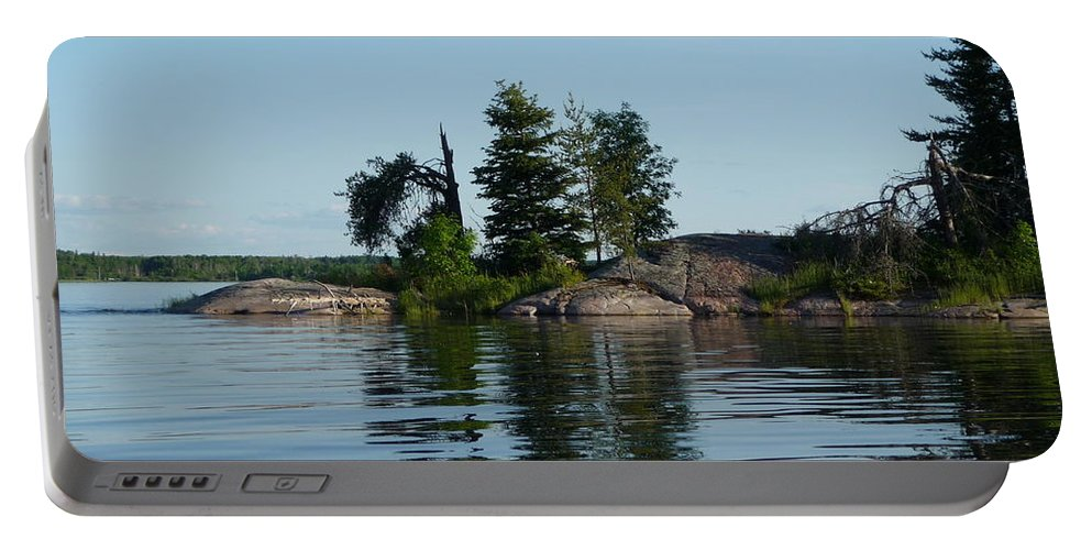 Lake Portable Battery Charger featuring the photograph Natural Breakwater by Ruth Kamenev