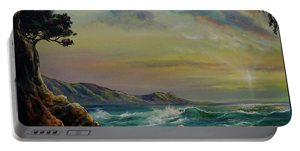 Seascape Portable Battery Charger featuring the painting Natural Mystic by Marco Antonio Aguilar