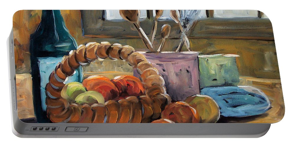 Art Portable Battery Charger featuring the painting Nature Morte by Richard T Pranke