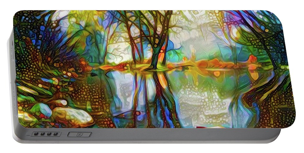 Landscape Portable Battery Charger featuring the mixed media Nature Reflections 2 by Lilia D