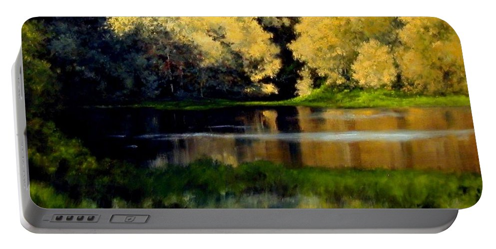 Landscape Portable Battery Charger featuring the painting Nature Walk by Jim Gola