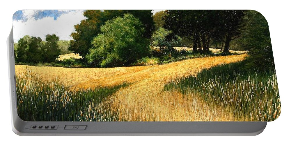 Landscape Portable Battery Charger featuring the painting Nature Walk Ridgefield Washington by Jim Gola