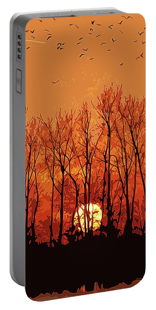 Sun Portable Battery Charger featuring the painting Nature's Altar by Andrea Mazzocchetti
