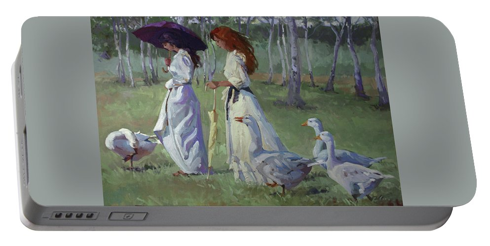 Women In White Portable Battery Charger featuring the painting Nature's Compliments by Betty Jean Billups
