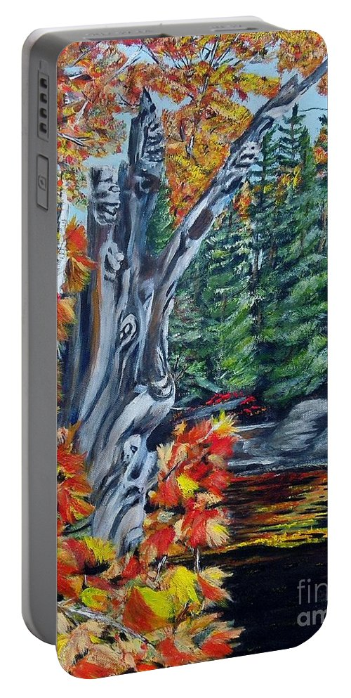 Dead Stump Portable Battery Charger featuring the painting Natures Faces by Marilyn McNish