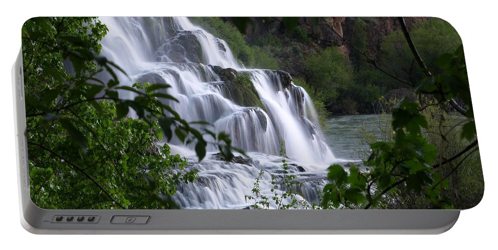 Water Portable Battery Charger featuring the photograph Nature's Framed Waterfall by DeeLon Merritt