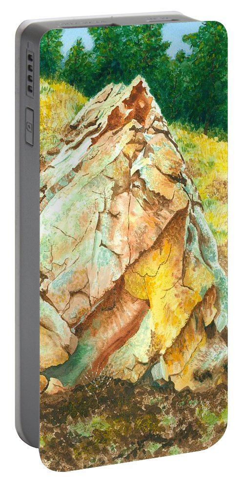 Granite Portable Battery Charger featuring the painting Nature's Granite Sculpture by JoAnne Rauschkolb