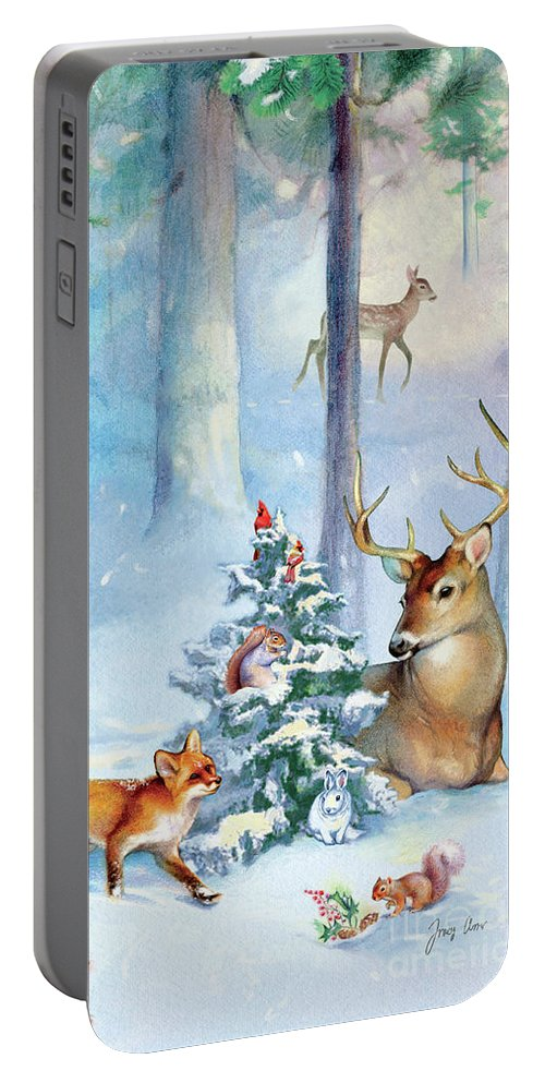 Nature Portable Battery Charger featuring the painting Nature's Season by Tracy Herrmann