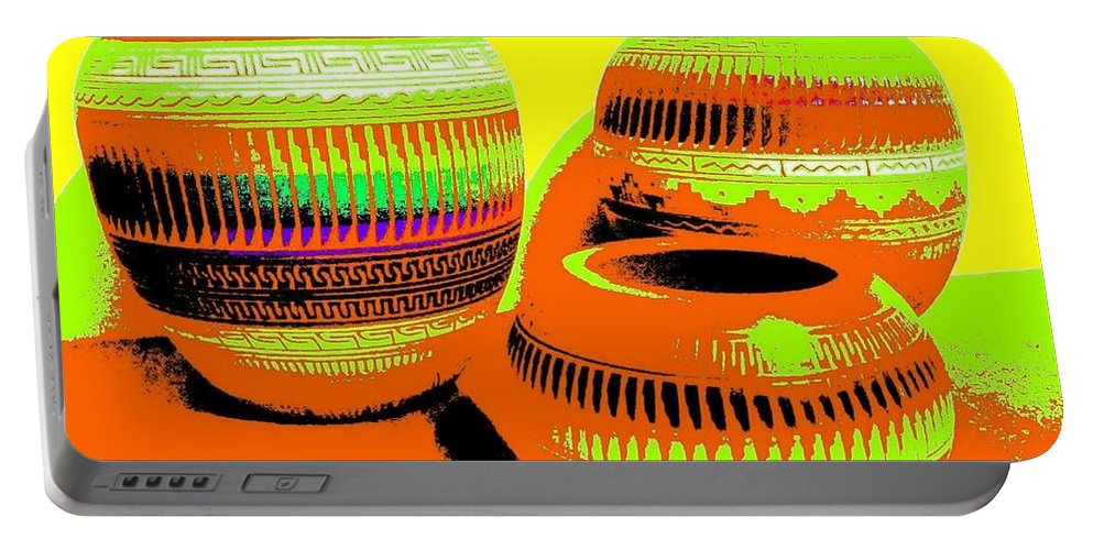 Abstract Portable Battery Charger featuring the digital art Navajo Pots by Will Borden