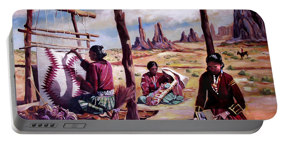 Native American Portable Battery Charger featuring the painting Navajo Weavers by Nancy Griswold