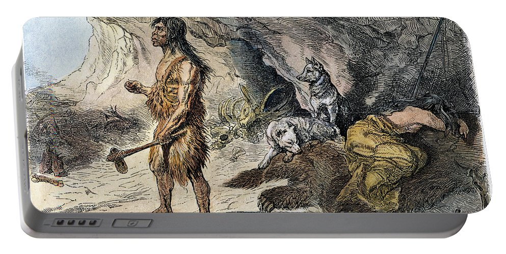 1873 Portable Battery Charger featuring the photograph Neanderthal Man by Granger