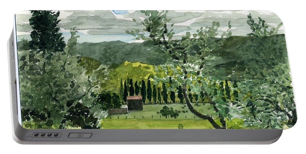 Watercolor Portable Battery Charger featuring the painting Near San Giovanalle Tuscany by Robert Bowden