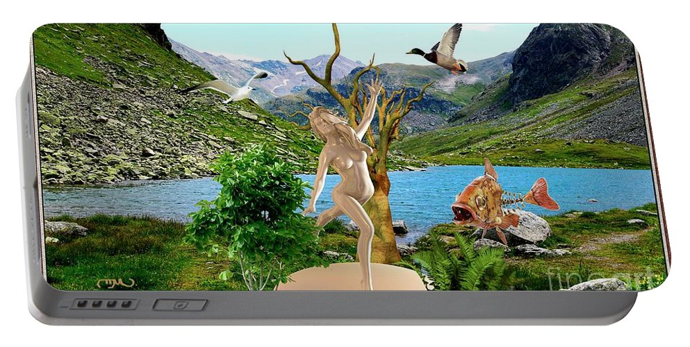Modern Painting Portable Battery Charger featuring the mixed media Near The Lake26 by Pemaro