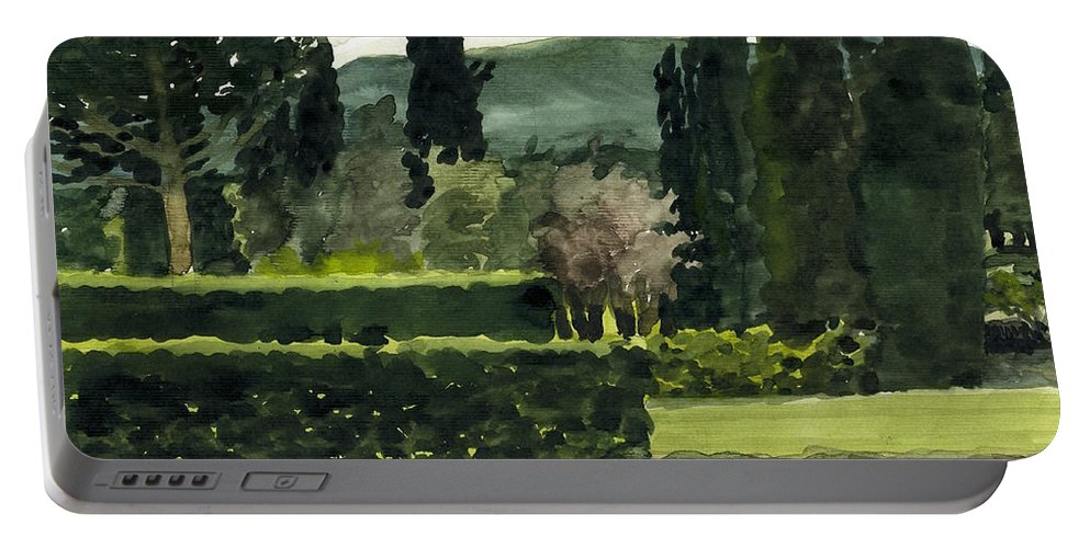Watercolor Portable Battery Charger featuring the painting Near Villa Mandri Gardens by Robert Bowden