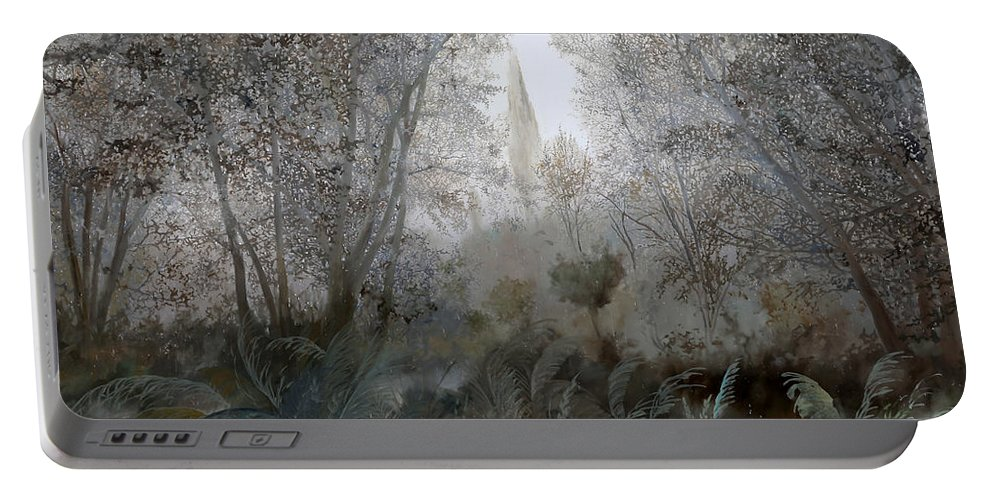 Wood Portable Battery Charger featuring the painting Nebbia Nel Bosco by Guido Borelli