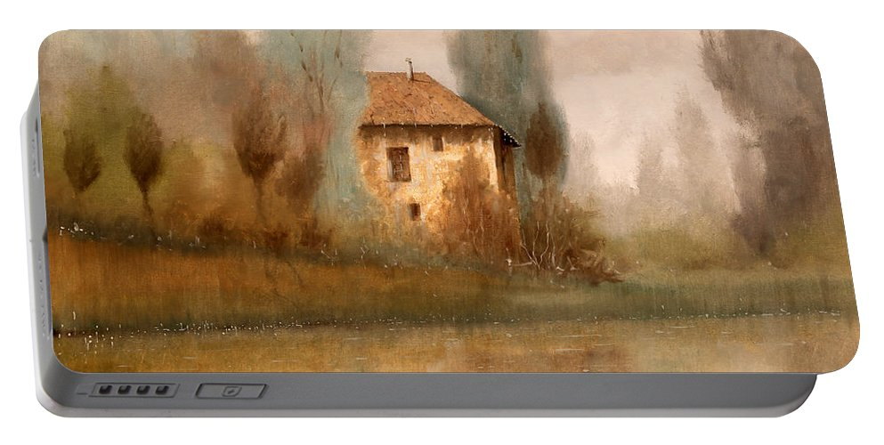Wood Portable Battery Charger featuring the painting Nebbiolina Autunnale by Guido Borelli