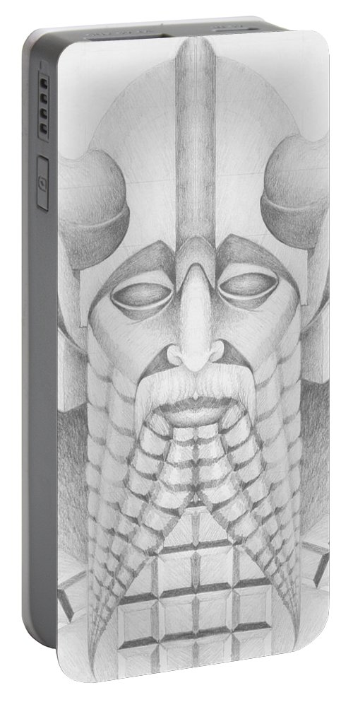 Babylonian Portable Battery Charger featuring the drawing Nebuchadezzar by Curtiss Shaffer