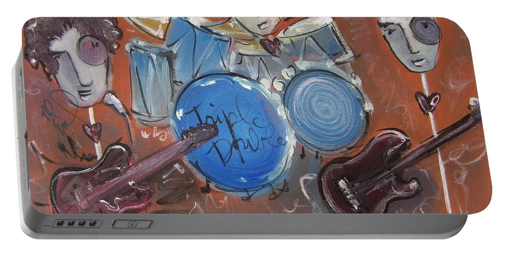 Ned Evett Portable Battery Charger featuring the painting Ned Evett And Triple Double by Laurie Maves ART