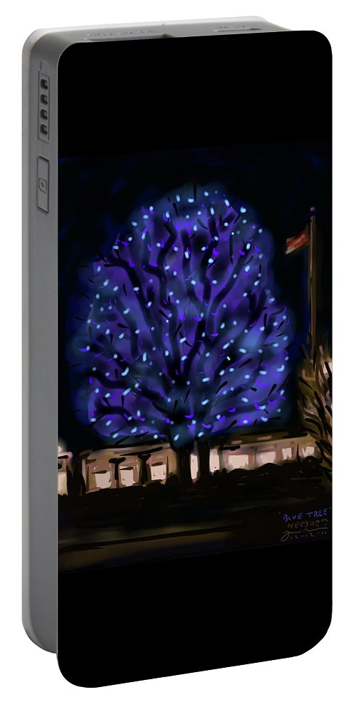 Needham Portable Battery Charger featuring the painting Needham's Blue Tree by Jean Pacheco Ravinski