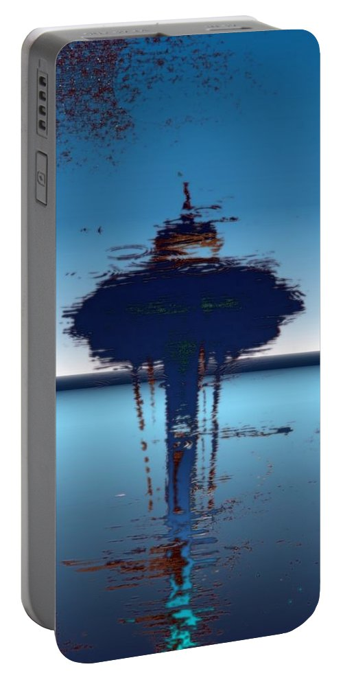 Seattle Portable Battery Charger featuring the digital art Needle In A Raindrop Stack 4 by Tim Allen