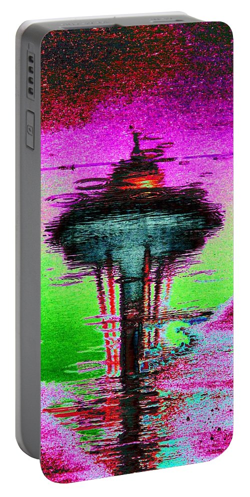 Seattle Portable Battery Charger featuring the digital art Needle In A Raindrop Stack by Tim Allen