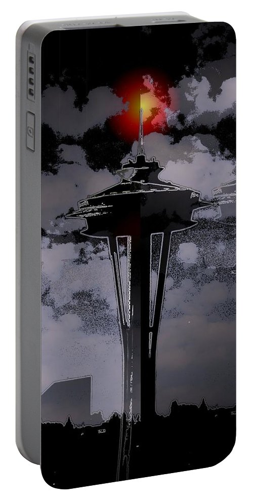 Seattle Portable Battery Charger featuring the digital art Needle In Flux by Tim Allen