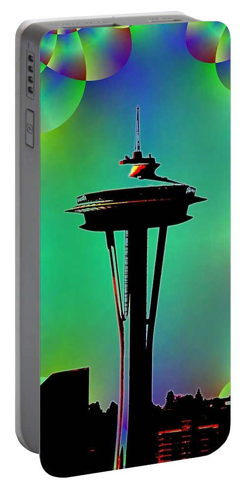 Seattle Portable Battery Charger featuring the digital art Needle In Fractal 3 by Tim Allen