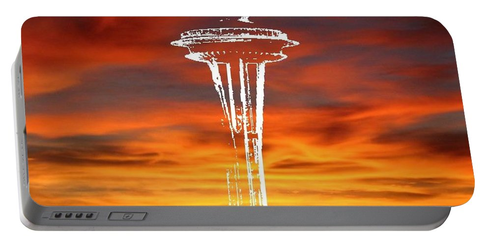 Seattle Portable Battery Charger featuring the digital art Needle Silhouette by Tim Allen