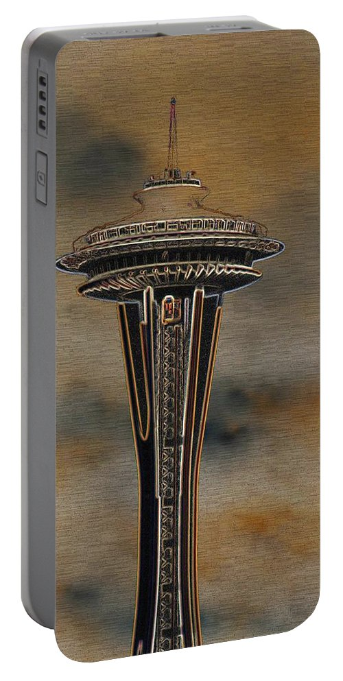 Needle Portable Battery Charger featuring the digital art Needles Edge 2 by Tim Allen