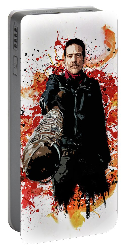 Walking Dead Portable Battery Charger featuring the digital art Negan by Laurence Adamson
