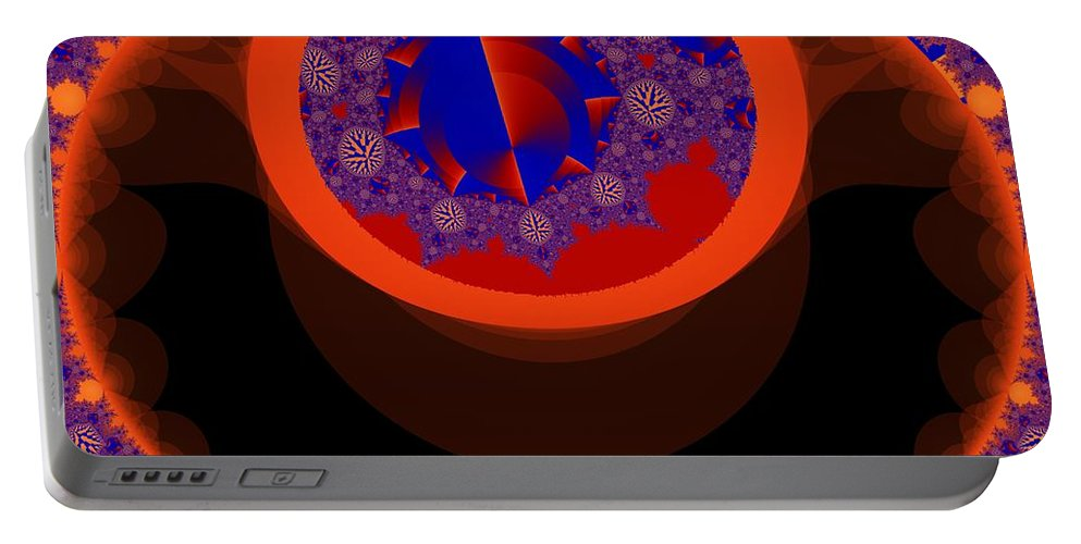 Fractal Image Portable Battery Charger featuring the digital art Negated Symetry by Ron Bissett