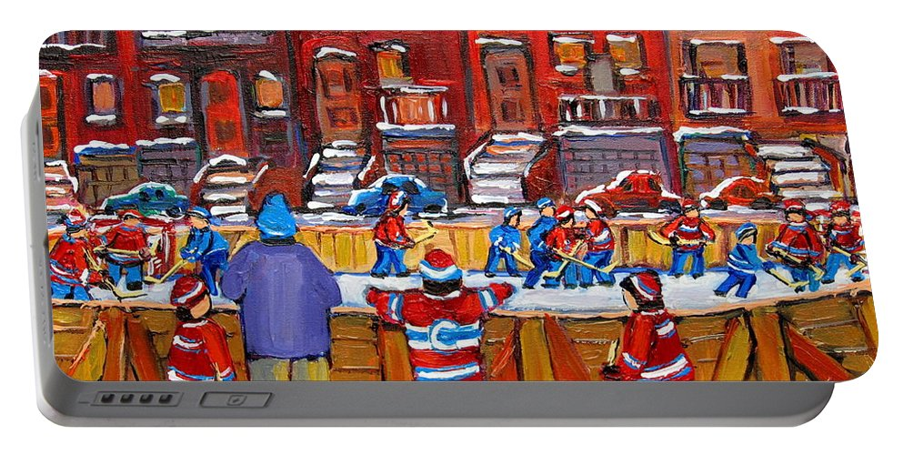Hockeygame At The Neighborhood Rink Portable Battery Charger featuring the painting Neighborhood Hockey Rink by Carole Spandau