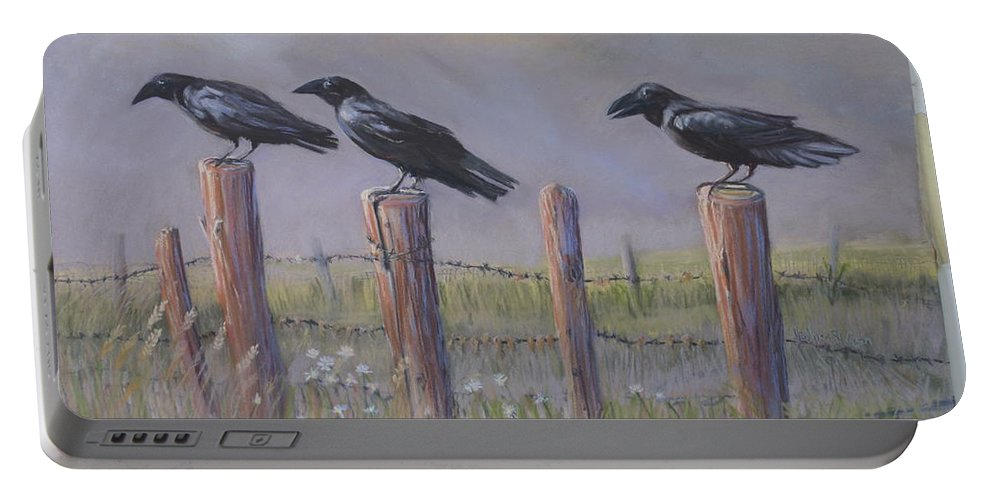 Crows Portable Battery Charger featuring the painting Neighborhood Watch by Heather Coen