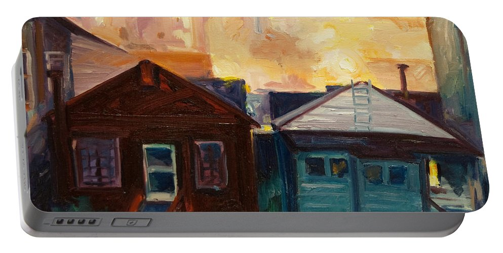 Cityscape Portable Battery Charger featuring the painting Neighbors by Rick Nederlof