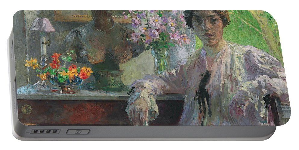 American Art Portable Battery Charger featuring the painting Nellie Kabel by Gari Melchers