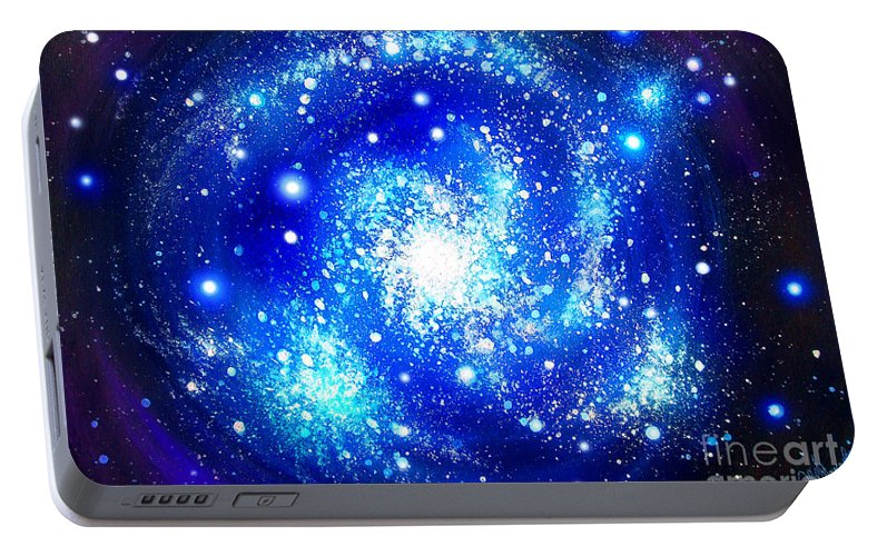 Blue Portable Battery Charger Featuring The Painting Neon Galaxy Bright Stars By Sofia