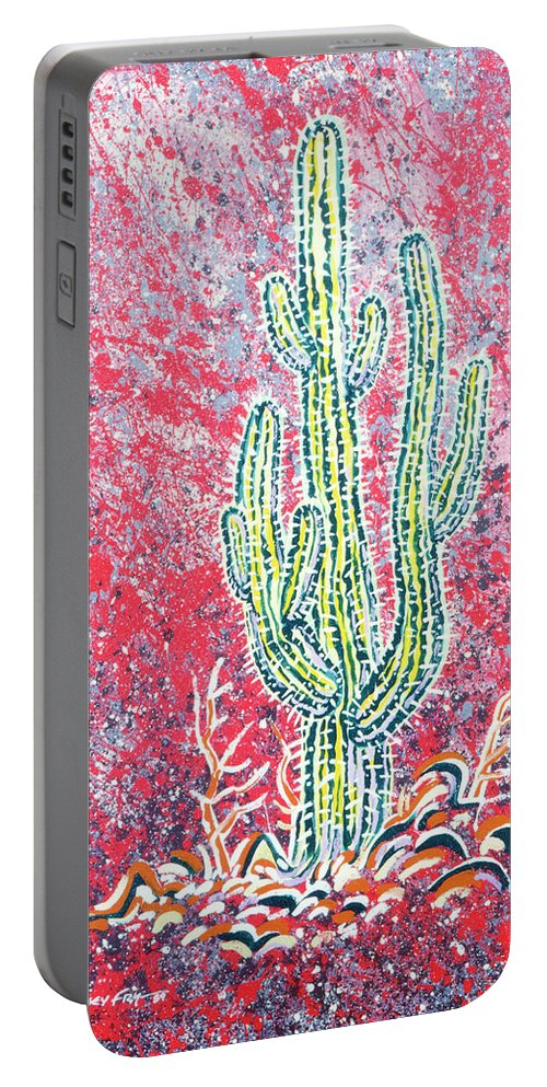 Portable Battery Charger featuring the painting Neon Cactus by Lindsey Fry