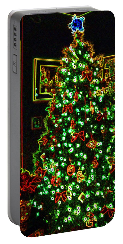 Christmas Portable Battery Charger featuring the photograph Neon Christmas Tree by Nancy Mueller