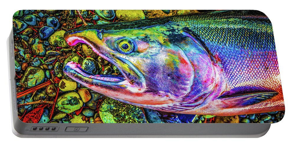 Fishing Portable Battery Charger featuring the photograph Neon Coho by Jason Brooks